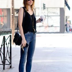 """<a href=""""http://la.racked.com/archives/2011/09/12/meg_at_9th_and_los_angeles.php"""" rel=""""nofollow"""">Meg</a>'s bag is from Proenza Schouler, the sandals are Chloe, the tank is from American Apparel, and the necklace is Isabel Marant."""