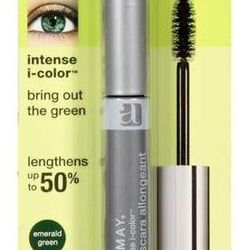 """Almay Mascara in Emerald Green, <a href=""""http://www.sears.com/almay-intense-i-color-mascara-bring-out-the-green/p-013ZA498000P"""">$6.49</a>"""