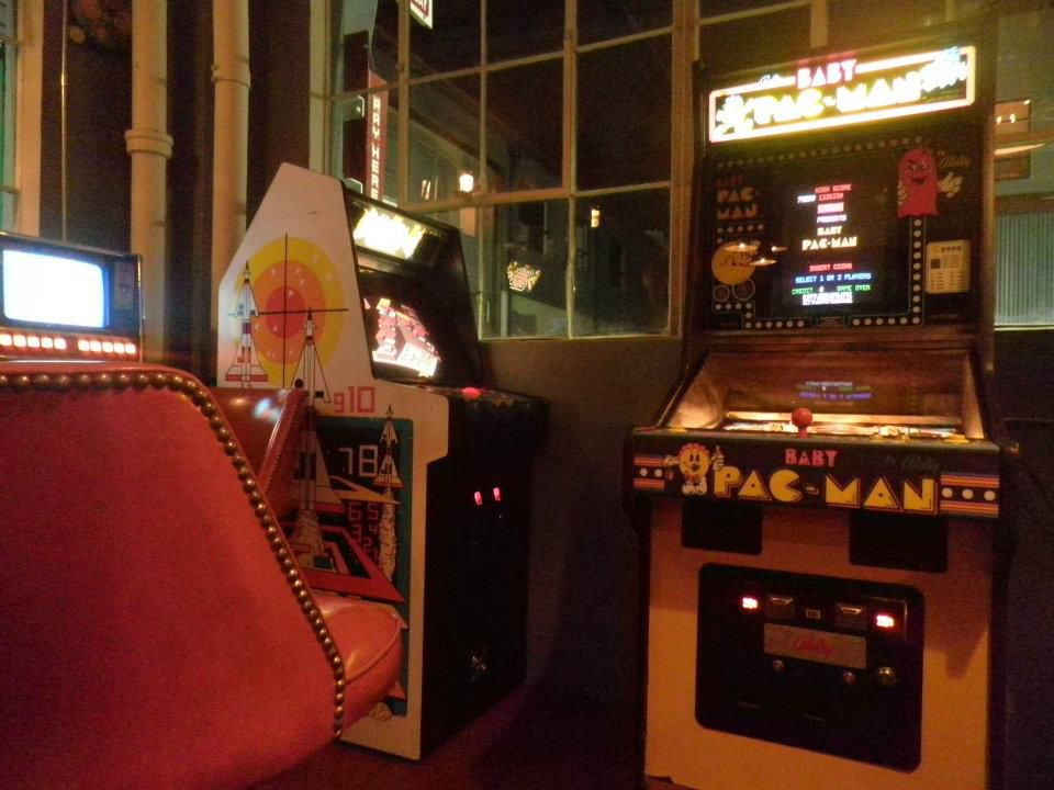Baby Pac-Man, along with another vintage arcade game at Add-A-Ball.