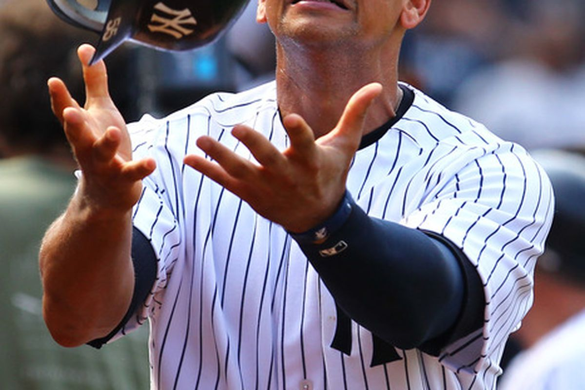 Stupid-faced Yankee making a stupid face.  (Photo by Al Bello/Getty Images)