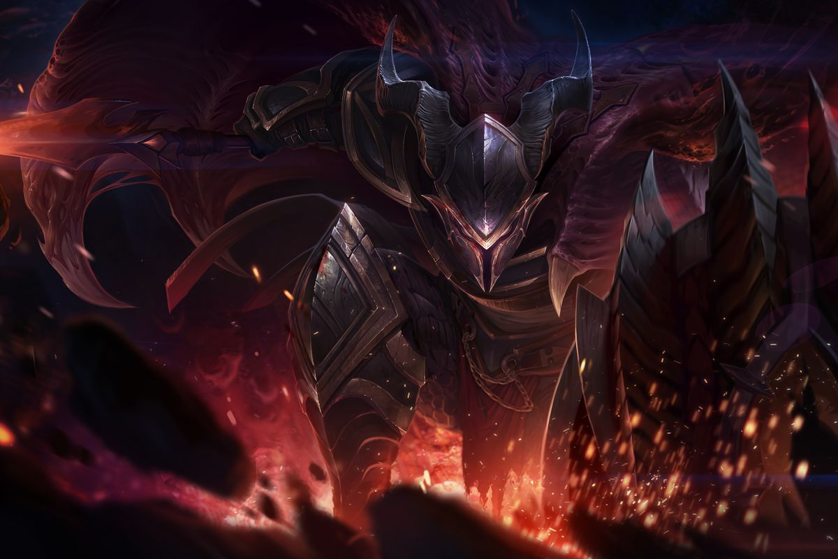 Dragonslayer Pantheon's splash art, which has him landing from his Grand Starfall