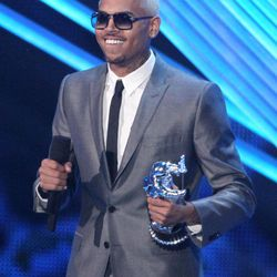 """Chris Brown accepts the award for best male video for """"Turn Up the Music"""" at the MTV Video Music Awards on Thursday, Sept. 6, 2012, in Los Angeles."""