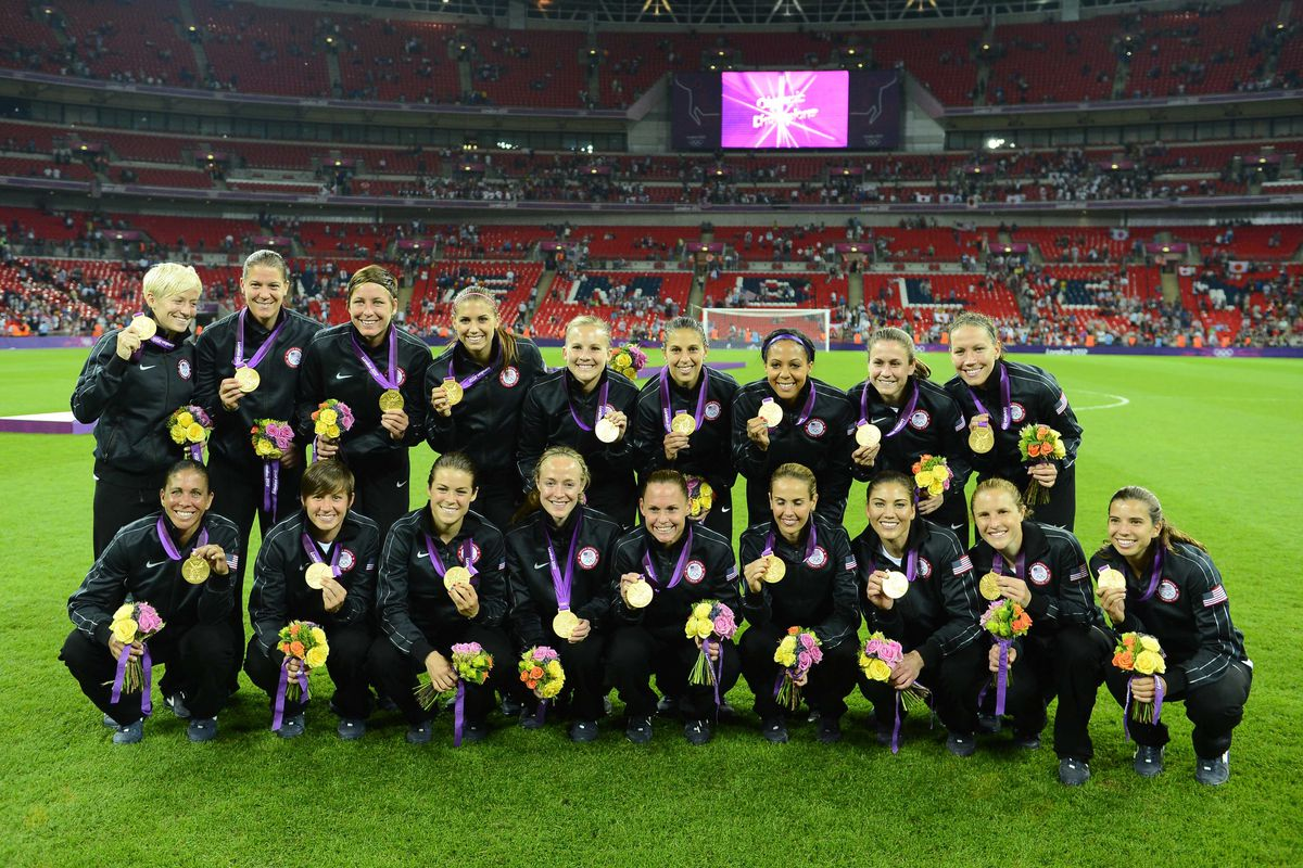 Aug 9, 2012; London, United Kingdom; USA poses for a photo with their gold medals after defeating Japan in the gold medal match during the London 2012 Olympic Games at Wembley Stadium. Mandatory Credit: Christopher Hanewinckel-USA TODAY Sports