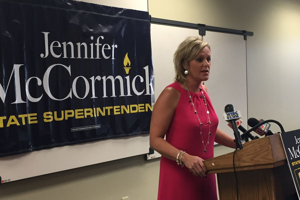 Jennifer McCormick speaks during a 2016 campaign event.