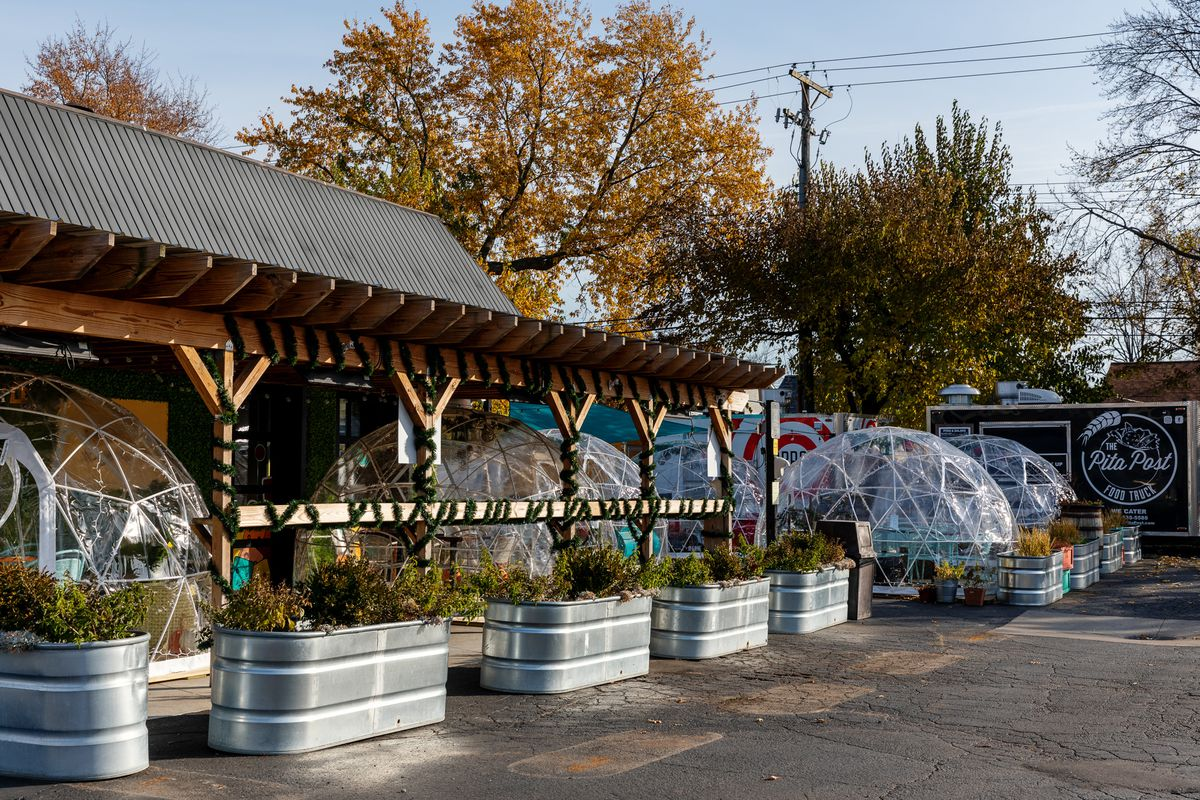 Igloos outside of Detroit Fleat on a sunny fall day.