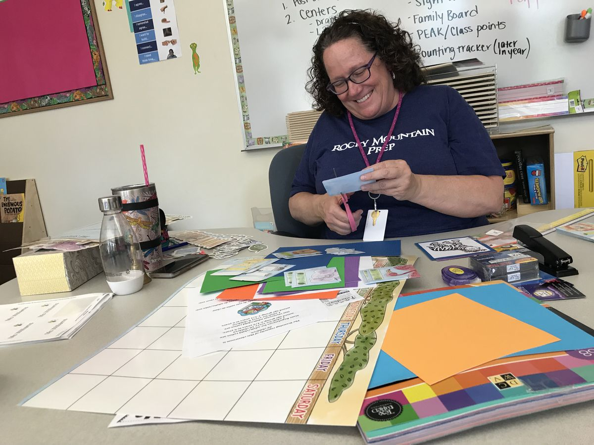 Mary Ann Mahoney gets her preschool classroom ready in August 2018.