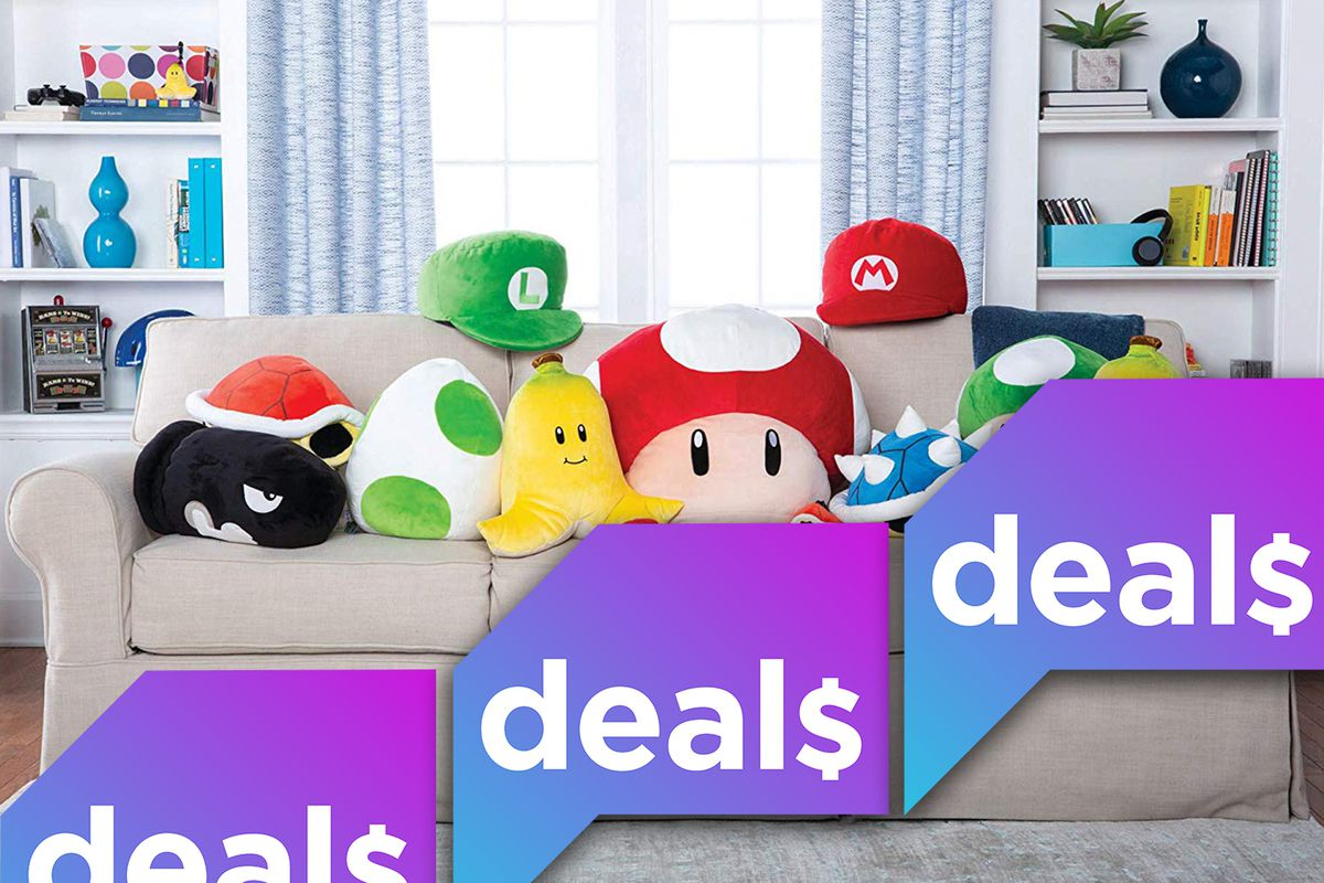 Several Nintendo plushes arranged on a beige couch, overlaid with the Polygon Deals logo