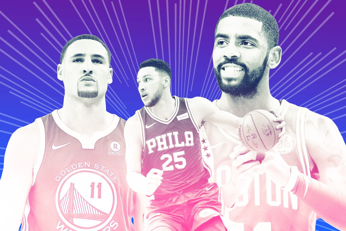 A collage of Klay Thompson, Ben Simmons, and Kyrie Irving