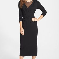 """""""An updated little black dress or """"LBD"""" is a must-have staple in this season's wardrobe. I like this long sleeve midi option by Vince Camuto. The illusion neckline makes this dress perfect for holiday parties, special occasions, including black tie events"""