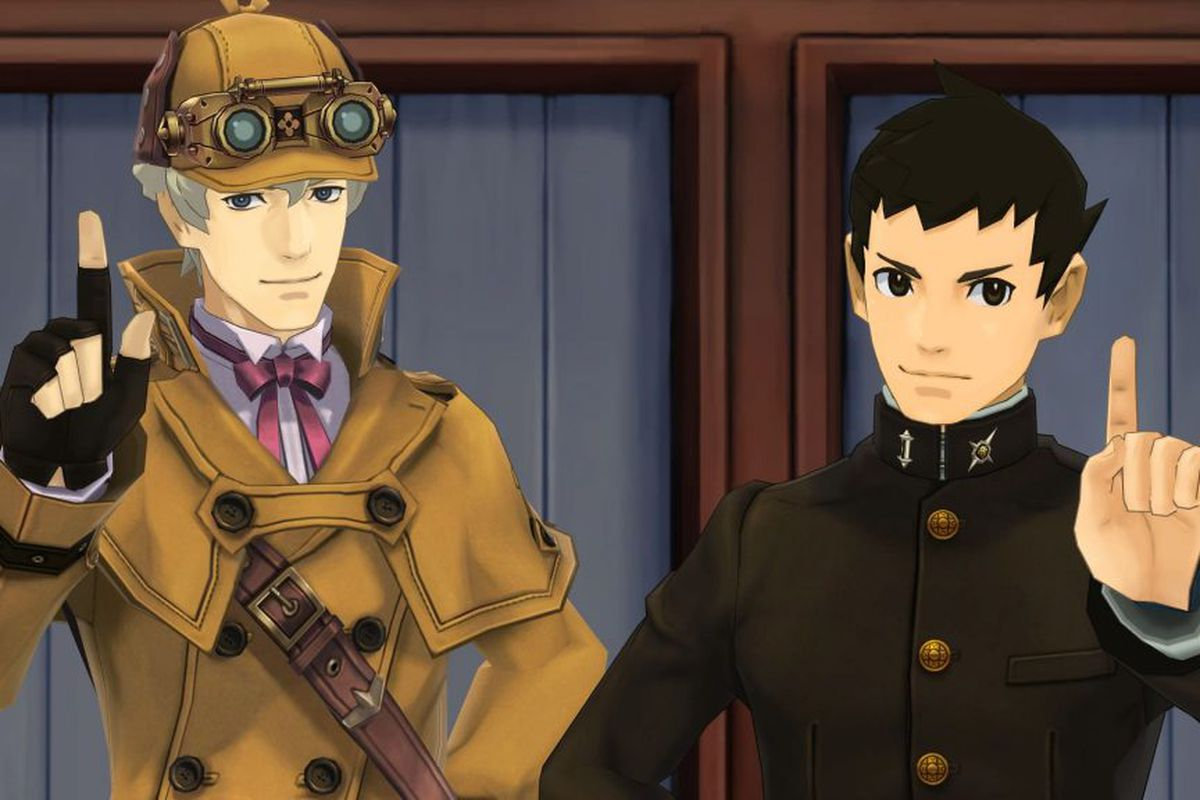 Herlock Sholmes (left) and Ryunosuke Naruhodo (right) in The Great Ace Attorney