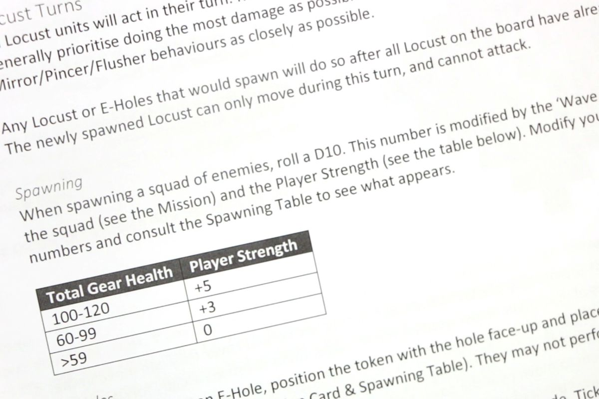 Game instructions show how locust spawn onto the map, either via emergence holes or from the edge of the map, based on player strength and gear equipped.