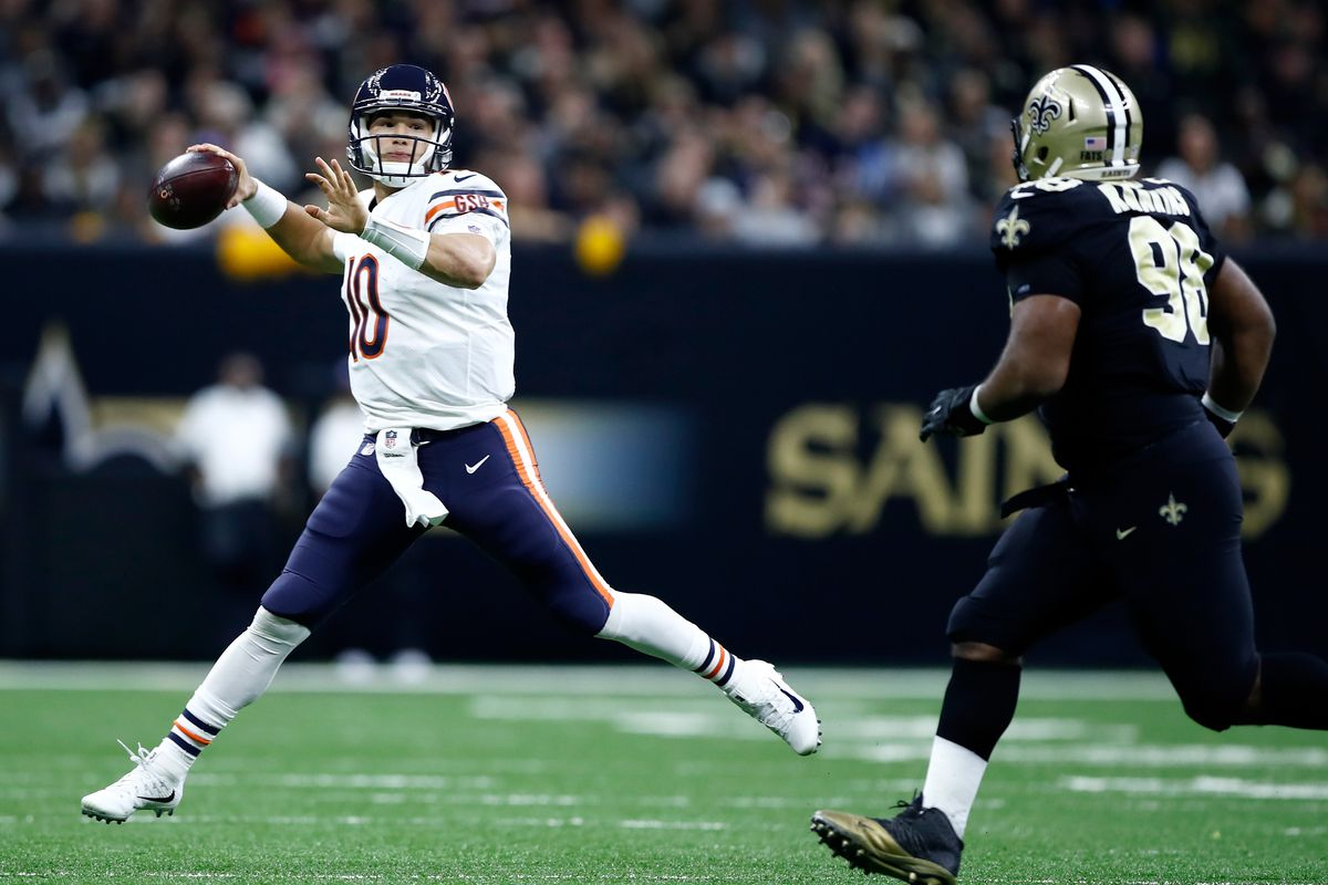 c2a79140a50 Mitchell Trubisky #10 of the Chicago Bears passes the ball against the New  Orleans Saints during the second quarter at the Mercedes-Benz Superdome on  ...