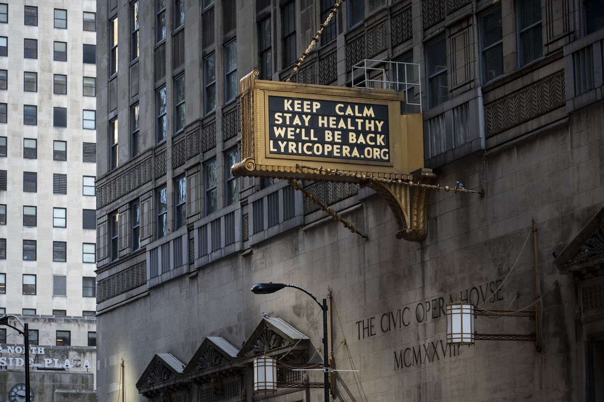 A positive message shines on the marquis at the Lyric Opera of Chicago in April.