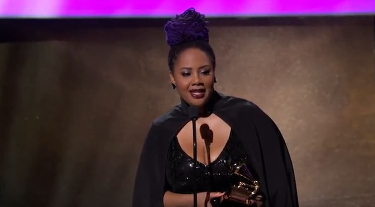 Lalah Hathaway delivers her Grammy Award acceptance speech for best traditional R&B performance, on Feb. 12, 2017,  in Los Angeles, Calif.   YOUTUBE