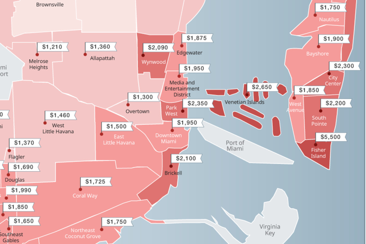 Miami neighborhood map shows dipping rents - Curbed Miami on
