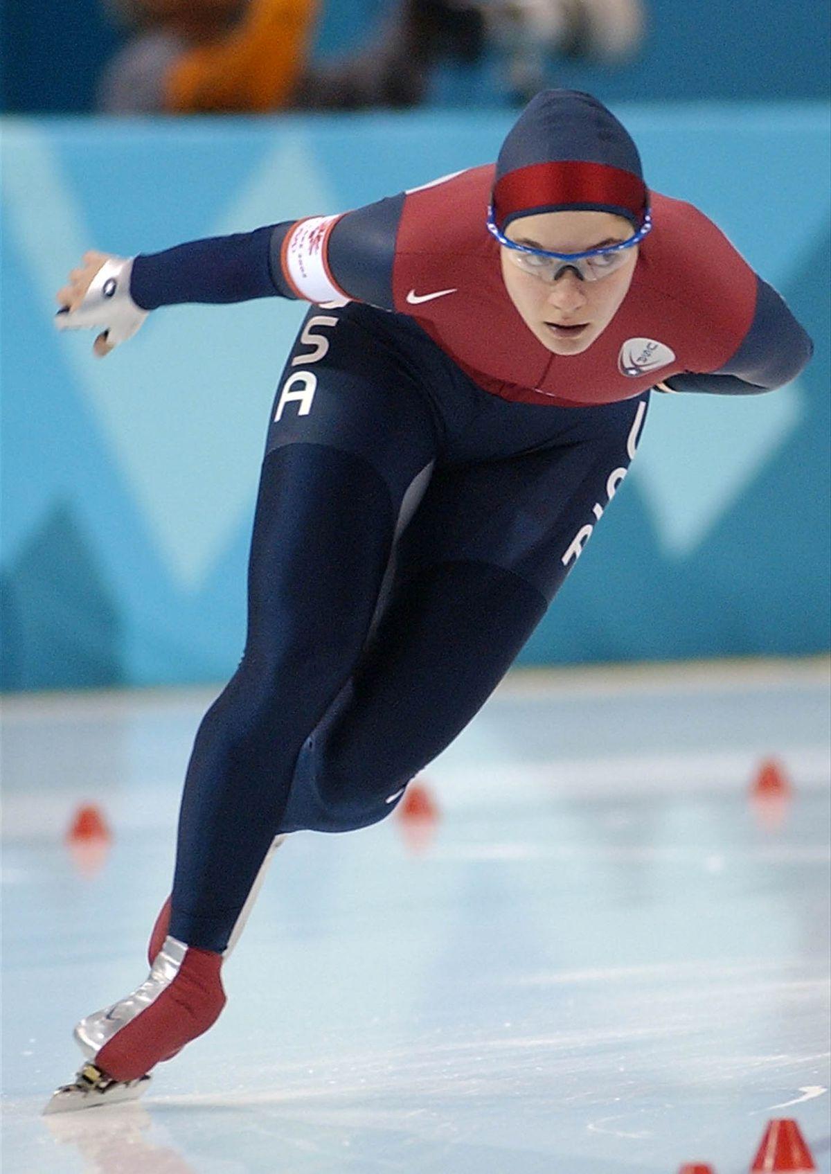 USA's Catherine Raney skates in the women's 3000 meters, Salt Lake City 2002 Winter Olympics. February 10, 2002.