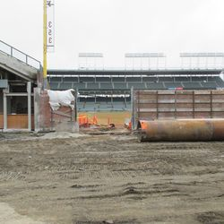 The RF corner of the bleachers in front of Gate Q on Sheffield