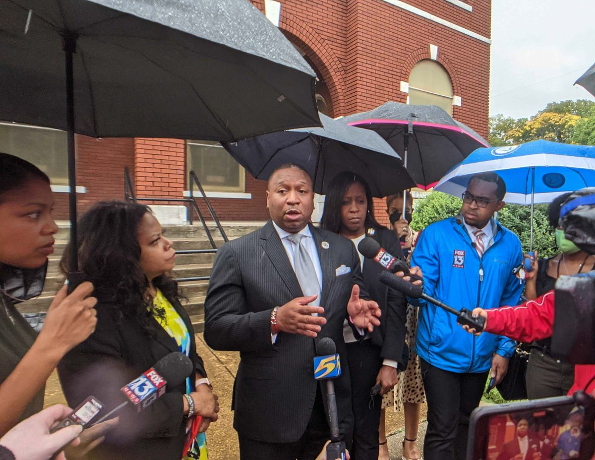 Shelby County Schools Superintendent Joris Ray speaks with members of the press outside of Metropolitan Baptist Church, following a shooting at Cummings Elementary School.