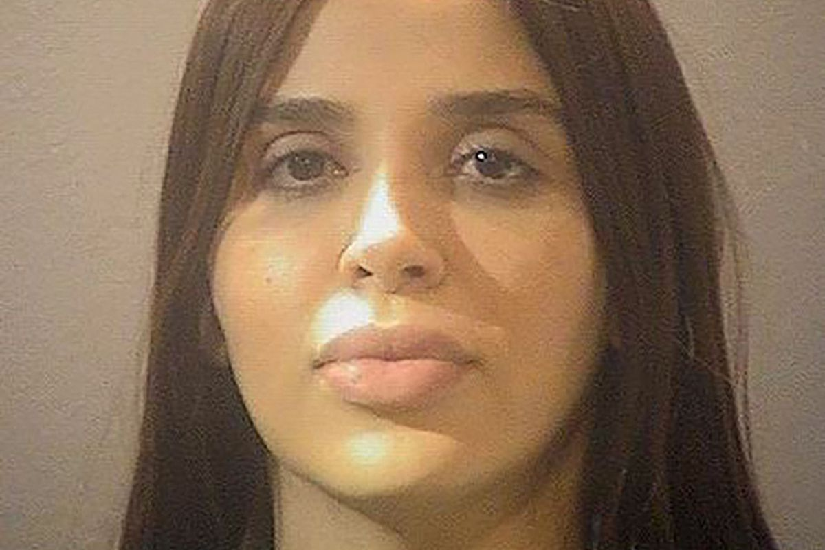 """This booking photo released by the Alexandria, Virginia, Sheriff's Office on February 23, 2021, shows Emma Coronel Aispuro, 31, wife of jailed Mexican drug lord Joaquin """"El Chapo"""" Guzman. - US authorities arrested Aispuro on February 22, at Dulles International Airport outside of Washington on narcotics smuggling charges, the Justice Department said. Aispuro faces one charge of conspiracy to traffic cocaine, methamphetamine, heroin and marijuana for importation into the US, the department said."""