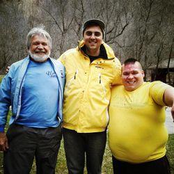 Keith Hottinger, Scott Winn and Christian Busath on the set of the Fruit Ninja video.