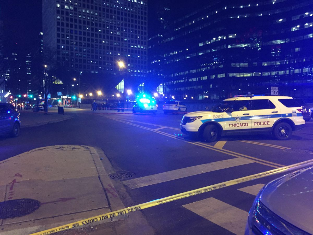 Police cordon off streets near Union Station after a shooting on Feb. 8.   Sam Charles/Sun-Times