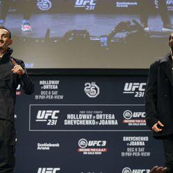 Max Holloway and Brian Ortega pose at UFC 231 presser.