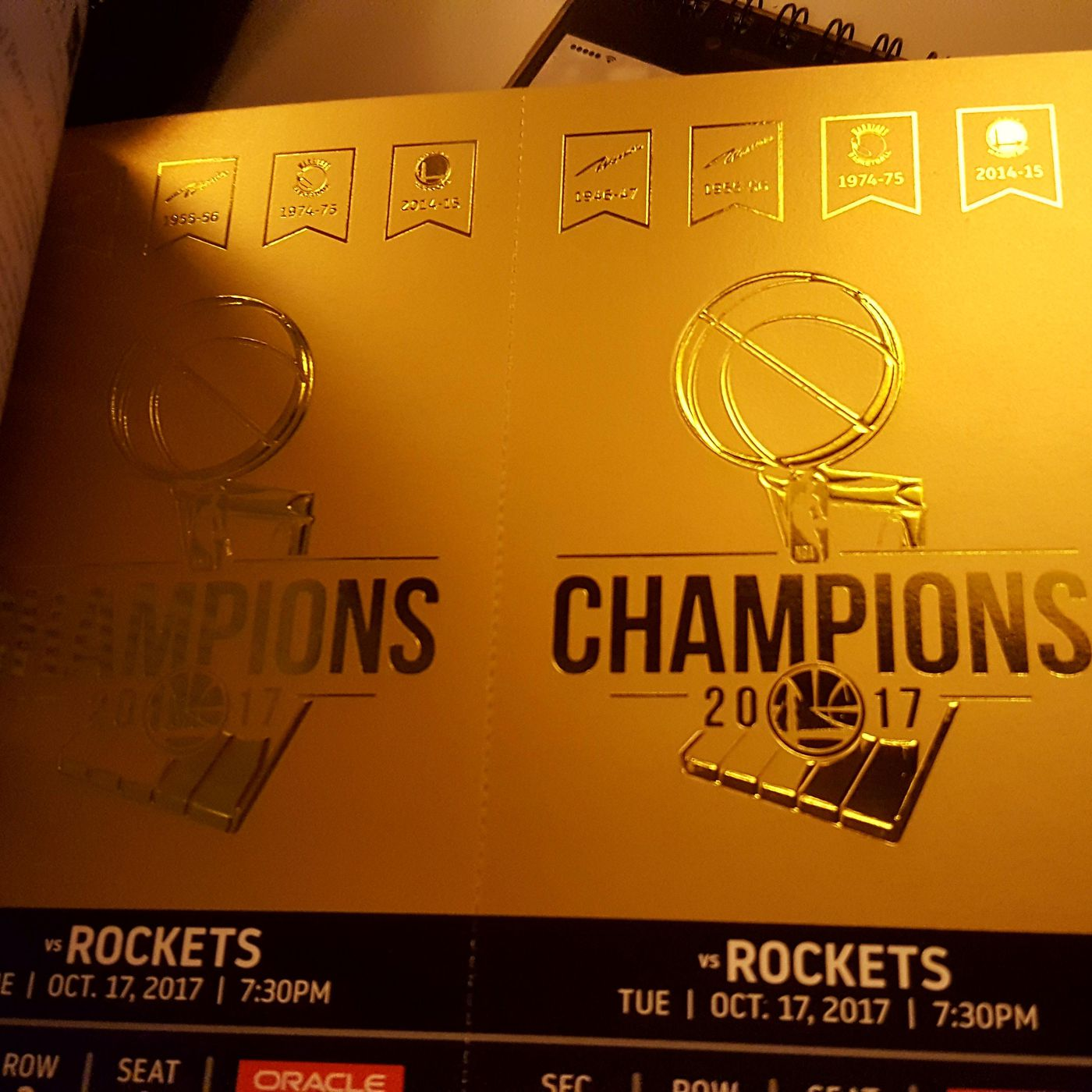 The Warriors Opening Night Tickets Are Pure Gold Golden State Of Mind