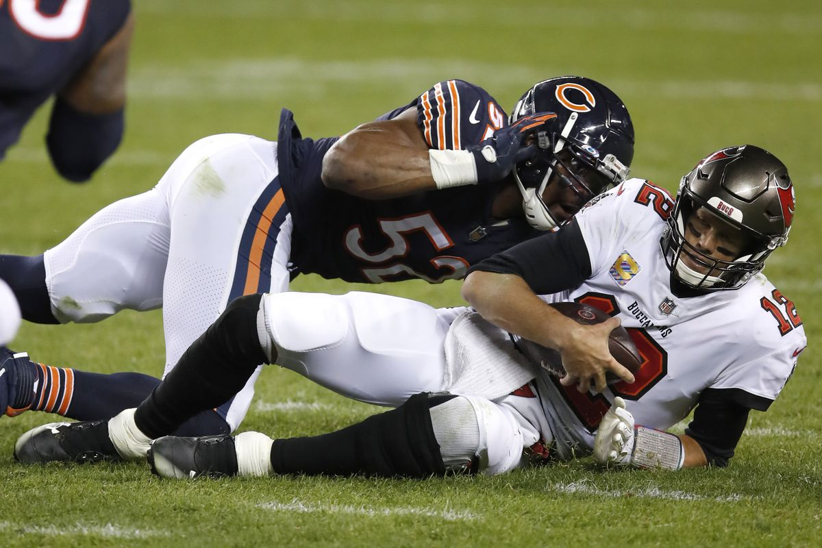 Khalil Mack sacked Tom Brady three times in Week 5, though one was nullified by penalty.