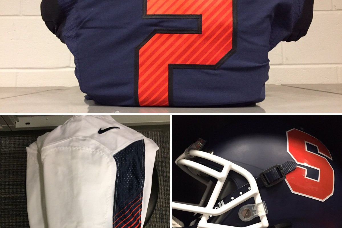 fffdc5c0c1a Syracuse wearing new uniform combo, altered blue helmets vs. Notre Dame