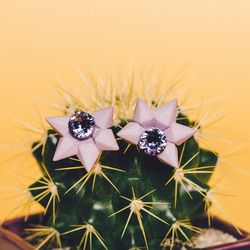 """Ebony Fleur lilac 'Reverie' earrings, $59 at In Support Of (call 646-657-0724 for info); The Sill eggplant 'Calvert' pot with cactus, <a href=""""http://www.thesill.com/collections/table-top-plants/products/calvert?variant=953695309"""">$44</a>"""