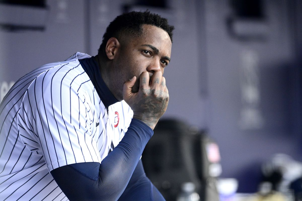 Aroldis Chapman #54 of the New York Yankees reacts after he is taken out of the game against the New York Mets during game one of a doubleheader at Yankee Stadium