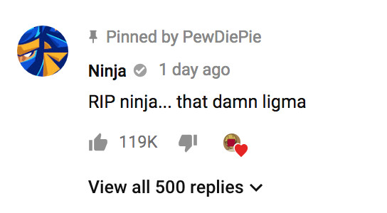 Ninja ligma PewDiePie