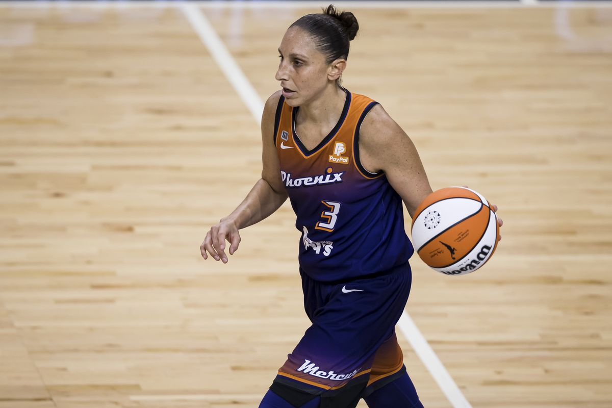 Diana Taurasi #3 of the Phoenix Mercury dribbles the ball against the Washington Mystics during the second half at Entertainment & Sports Arena on May 18, 2021 in Washington, DC.