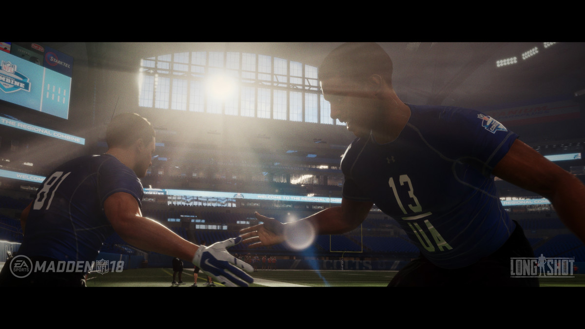 Madden NFL 18 - Devin Wade and Colt Cruise slapping hands in Longshot