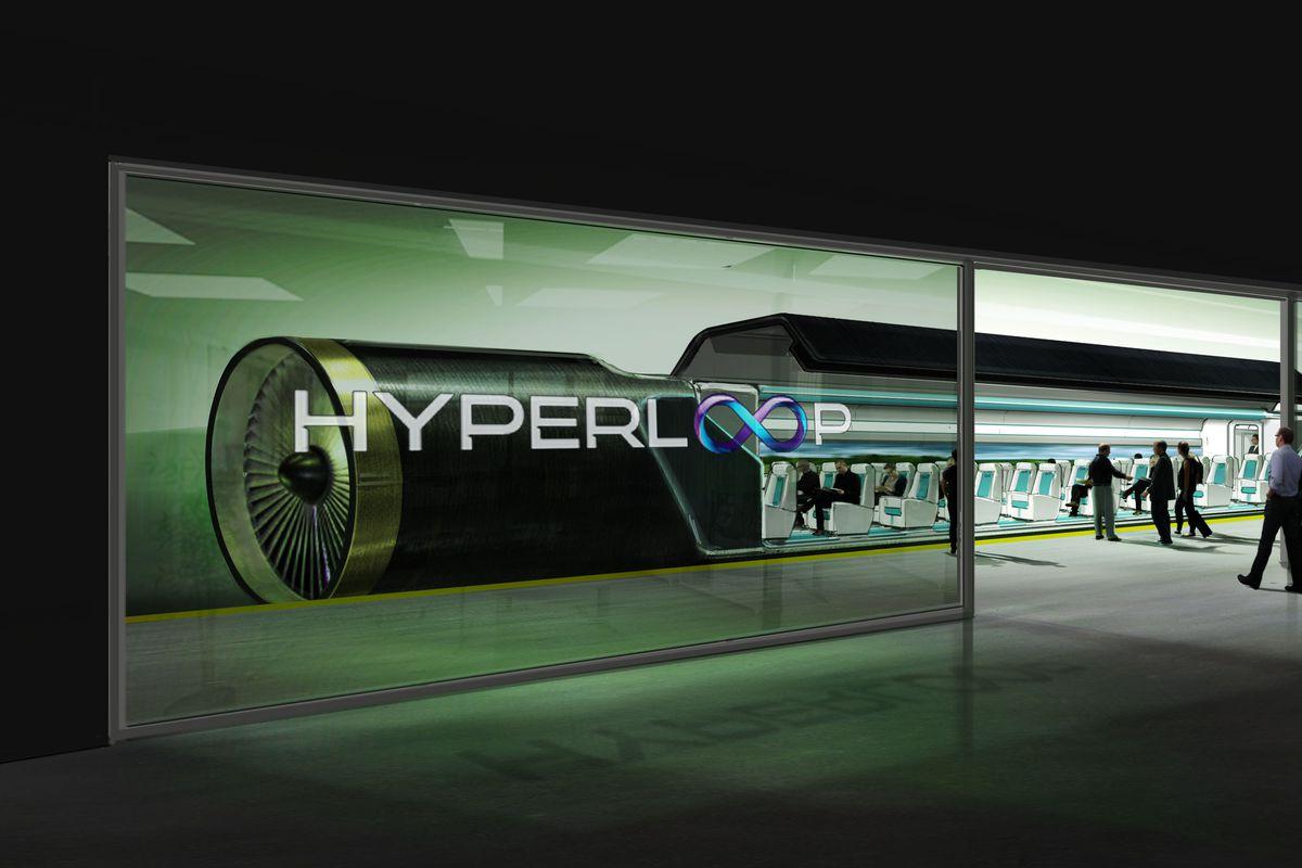 Rendering of a Hyperloop One station