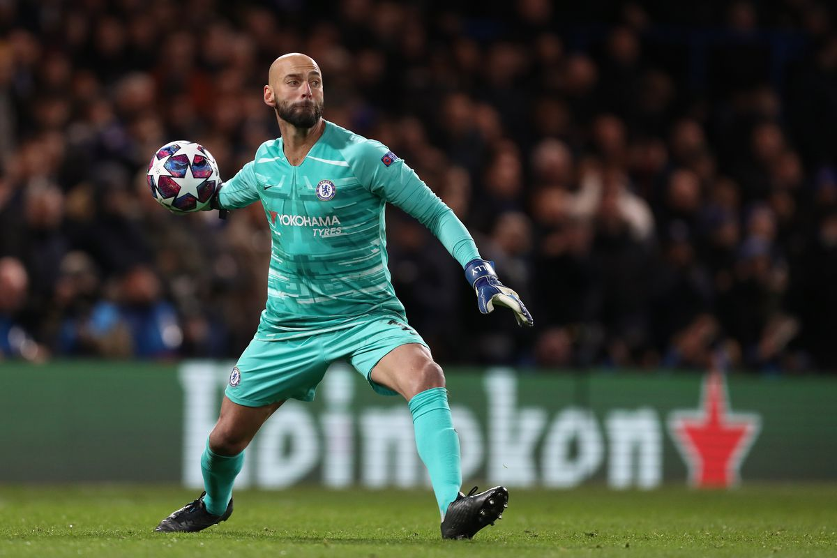 Wilfredo Caballero of Chelsea in action during the UEFA...