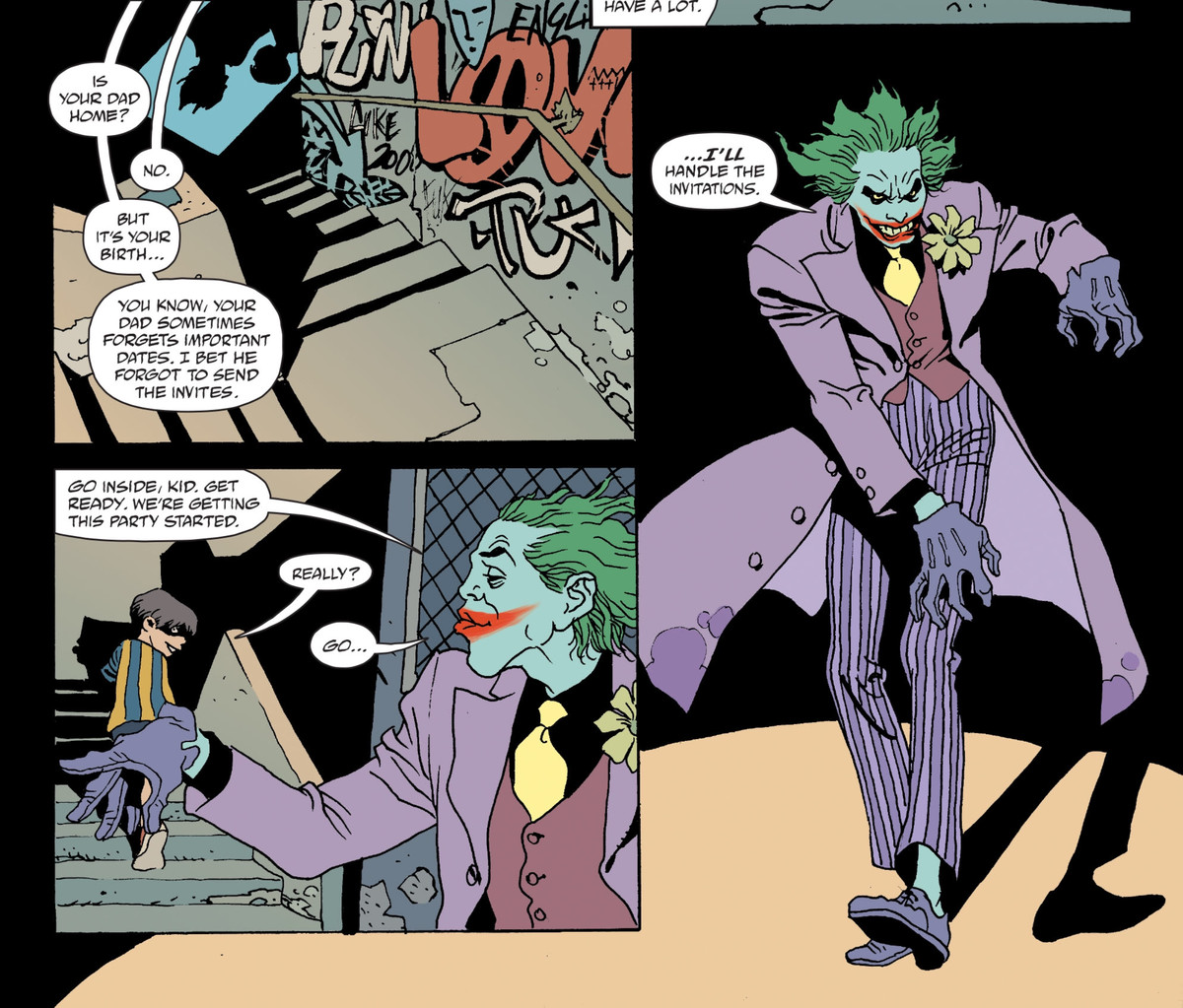"""The Joker decides to help a weird little kid with his birthday party, in the story """"Birthday Bugs"""" in The Joker 80th Anniversary 100-Page Super Spectacular, DC Comics (2020)."""