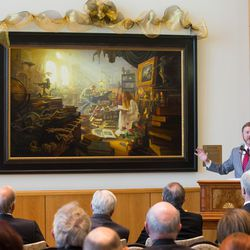 """Greg Olsen's new painting """"Treasures of Knowledge"""" was unveiled Wednesday and will be displayed in the family room of the Gordon B. Hinckley Visitors and Alumni Center. The painting was commissioned by Leo and Annette Beus."""