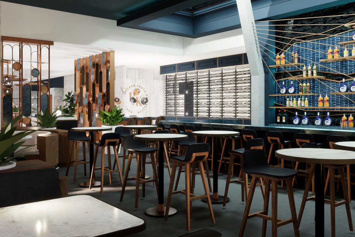 rendering of an upscale bar and restaurant with lots of blue accents