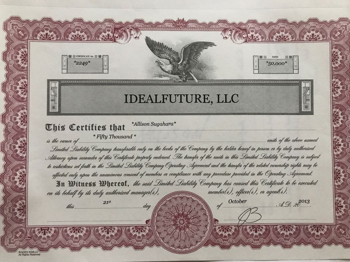 An IdealFuture stock certificate