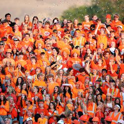 Skyridge students cheer as they watch Corner Canyon and Skyridge play a high school football game at Corner Canyon in Draper on Friday, Sept. 24, 2021. Corner Canyon won 38-23.