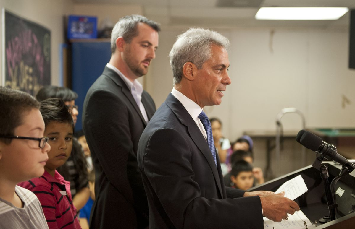 Mayor Rahm Emanuel, during a visit to Marantha Church in September 2012, talks with reporters about the ongoing Chicago Teachers Union strike.