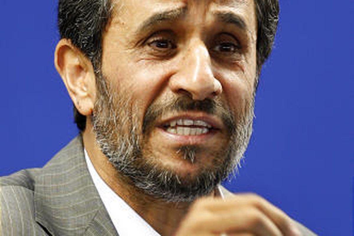 Iranian President Mahmoud Ahmadinejad, delivers a speech before Friday prayers at the Tehran University campus on Friday.