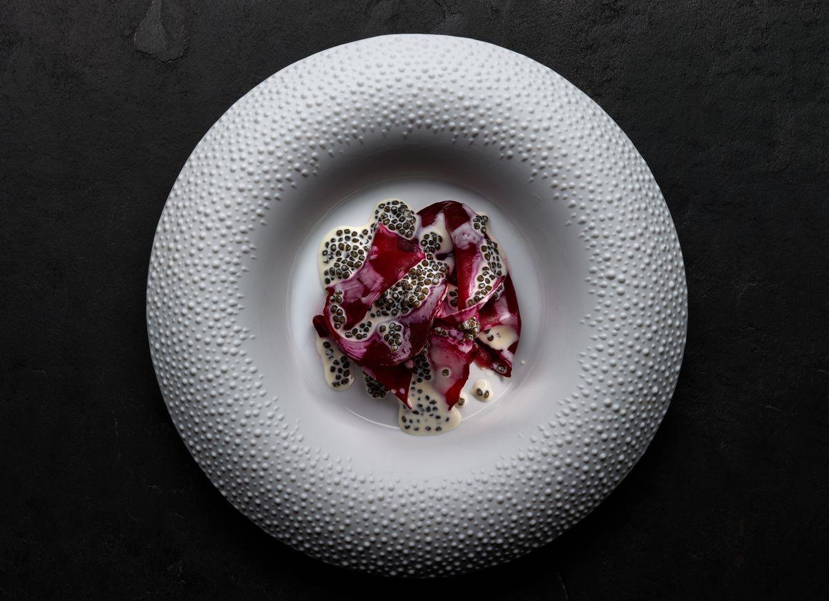 Mirazur's salt-crusted beetroot with caviar cream