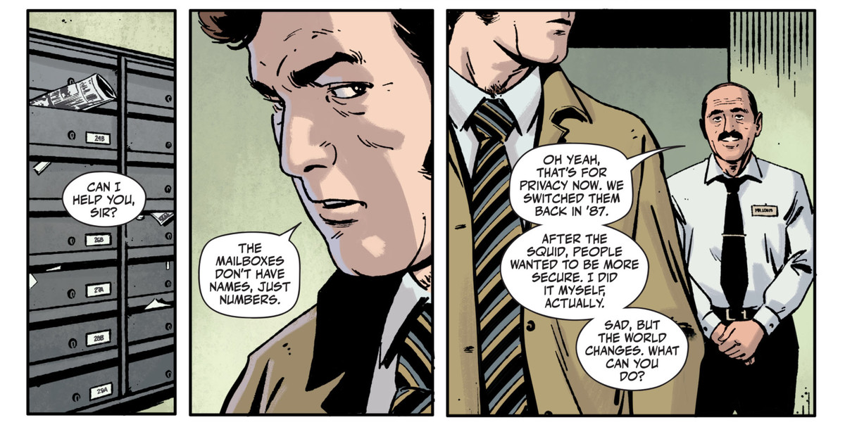 """A detective asks an apartment doorman why the mailboxes just have numbers, not names. """"That's for privacy now,"""" he says, """"we switched them back in '87. After the squid, people wanted to be more secure,"""" in Rorschach #2, DC Comics (2020)."""