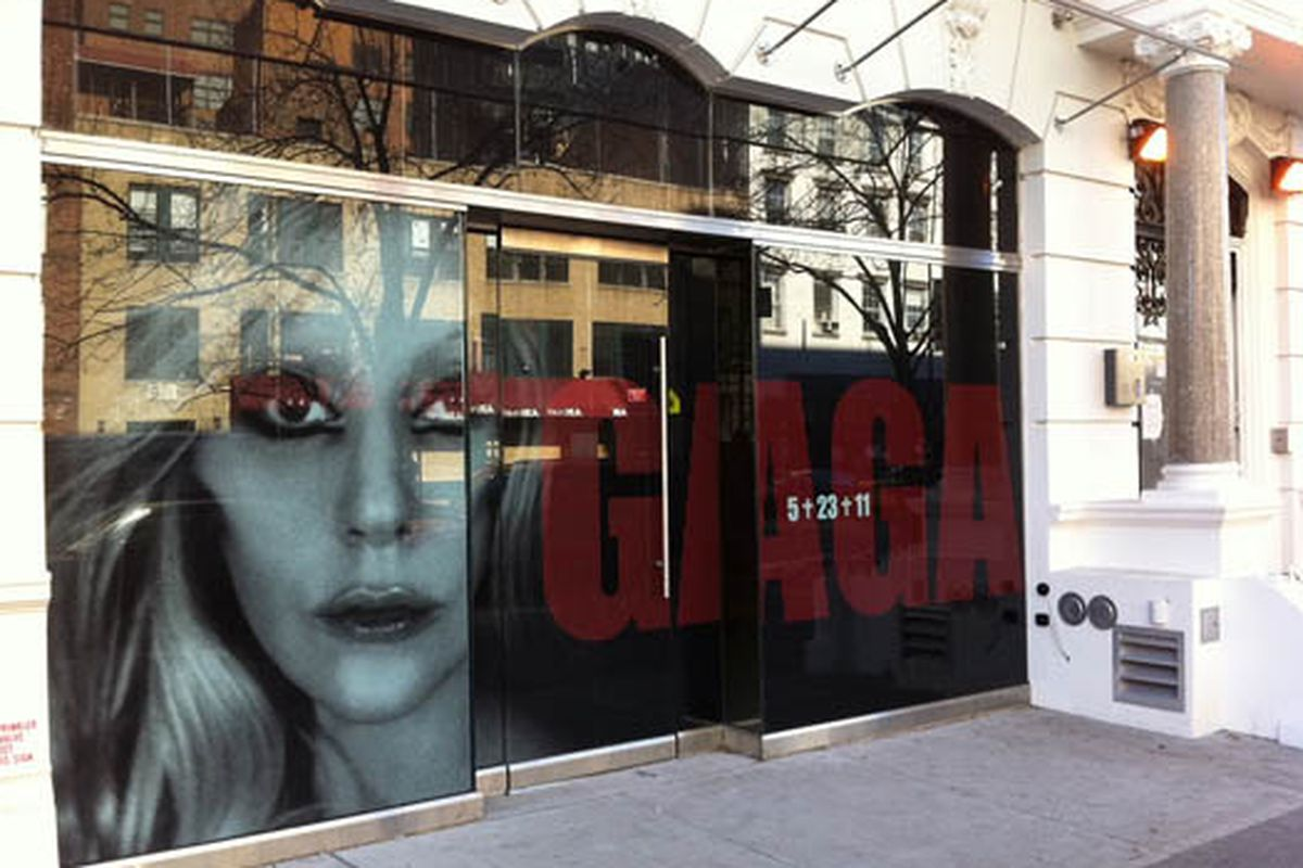 """Image via <a href=""""http://paperandstring.com/nyc/chelsea/news/is-ladygaga-opening-a-store-on-nycs-west-14th-street-hausofgaga-meatpackingdistrict"""">Paper and String</a>"""