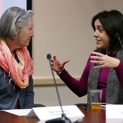 Michele Straube, left, and Shaleane Gee talk at the Salt Lake County Government Center in Salt Lake City on Wednesday, Dec. 9, 2015.