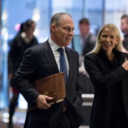 Oklahoma Attorney General Scott Pruitt arrives at Trump Tower in New York on Dec. 7, 2016. Pruitt will be the administrator of the Environmental Protection Agency in Donald Trump's administration.