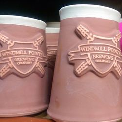 Windmill Pointe Brewing Company mugs made by Pewabic