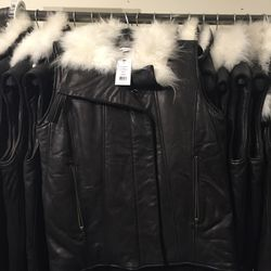 Fur/shearling jacket, size P, $379 (from $1,195)